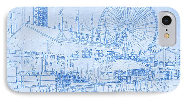 Navy Pier Chicago Blueprint IPhone Case by MotionAge Designs