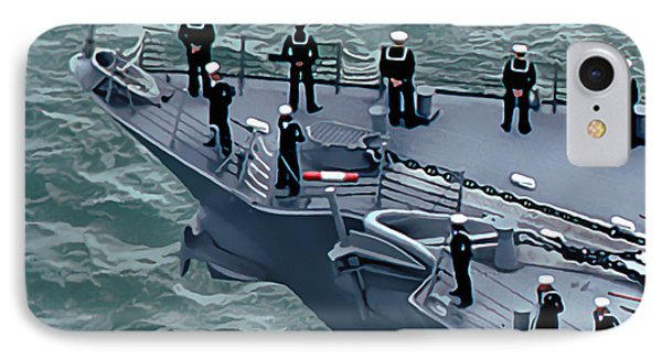 Navy Sailors On The Bow IPhone Case by Wernher Krutein
