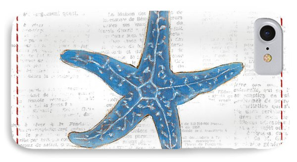 Navy Starfish On Newsprint With Red IPhone Case by Emily Adams