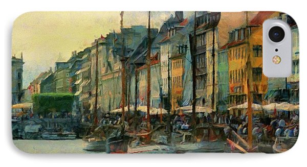 IPhone Case featuring the painting Nayhavn Street by Jeff Kolker