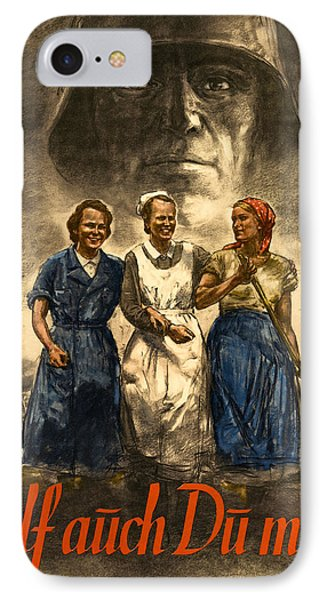 Nazi War Propaganda Poster Phone Case by Daniel Hagerman