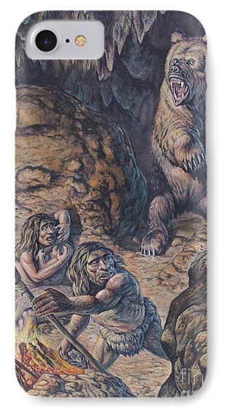 Neanderthal Humans Confronted By A Cave IPhone Case
