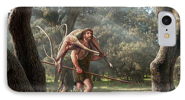 Neanderthal Hunter IPhone Case by Mauricio Anton