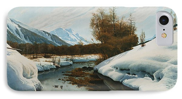 Near La Punt St Morritz In The Engadine Valley Phone Case by Peder Monsted
