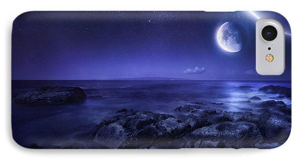 Nearby Planets Hover Over The Ocean Phone Case by Evgeny Kuklev