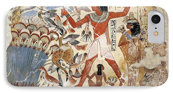 Nebamun Hunting In The Marshes With His Wife And Daughter, Part Of A Wall Painting IPhone Case by Egyptian 18th Dynasty