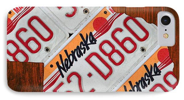 Nebraska License Plate Map Art IPhone Case