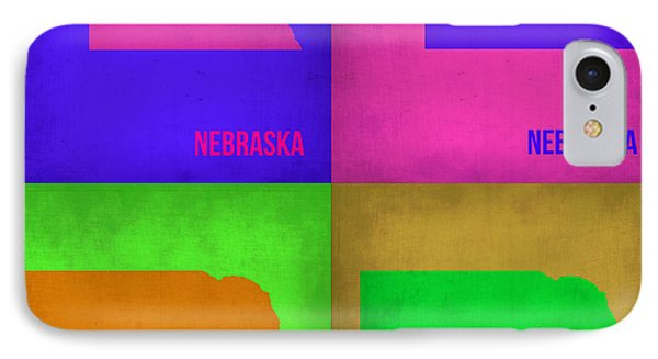 Nebraska Pop Art Map 1 IPhone Case by Naxart Studio