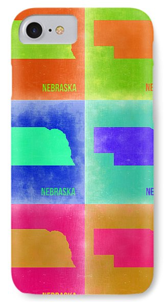 Nebraska Pop Art Map 2 IPhone Case by Naxart Studio