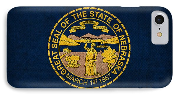 Nebraska State Flag Art On Worn Canvas IPhone Case