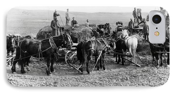 IPhone Case featuring the photograph Nebraska Threshing, 1886 by Granger