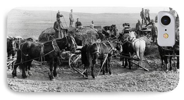 IPhone Case featuring the photograph Nebraska Threshing, 1886 by Granger