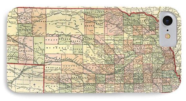 Nebraska Vintage Antique Map IPhone Case
