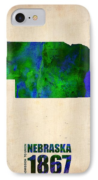 Nebraska Watercolor Map IPhone Case by Naxart Studio
