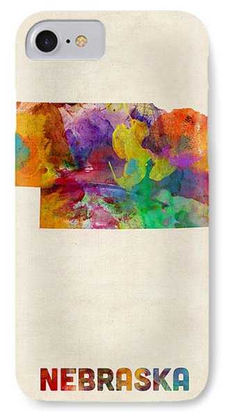 Nebraska Watercolor Map IPhone Case by Michael Tompsett
