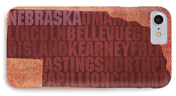 Nebraska Word Art State Map On Canvas IPhone Case
