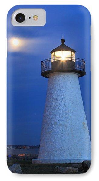 Neds Point Lighthouse Moon Mattapoisett Massachusetts IPhone Case by John Burk