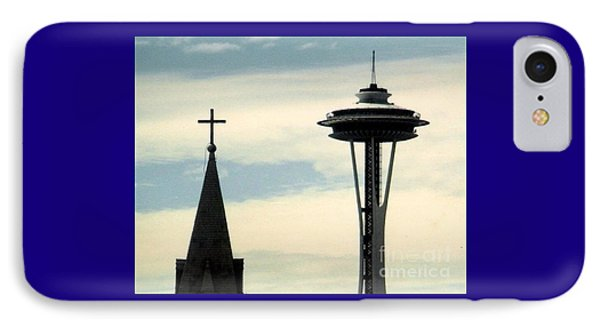 IPhone Case featuring the photograph Seattle Washington Space  Needle Steeple And Cross by Michael Hoard