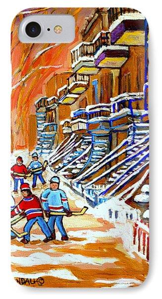 Neighborhood Street Hockey Game Last Call Time For Dinner  Montreal Winter Scene Art Carole Spandau IPhone Case by Carole Spandau