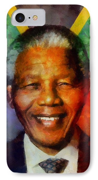 IPhone Case featuring the digital art Nelson Mandela 1918-2013 by Kai Saarto