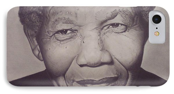 IPhone Case featuring the drawing Nelson Mandela by Wil Golden