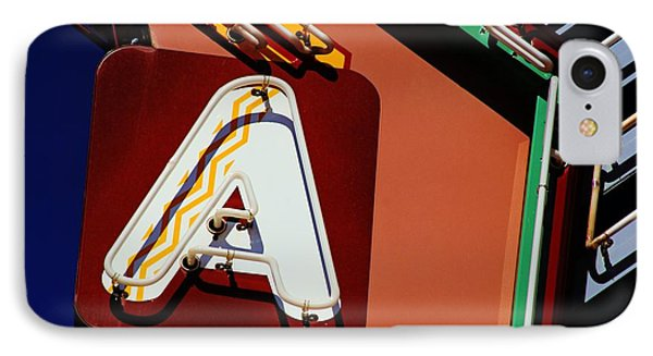 IPhone Case featuring the photograph Neon A - Aztec Theater by Daniel Woodrum