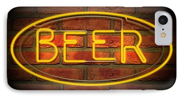 Neon Beer Sign On A Face Brick Wall IPhone Case by Allan Swart