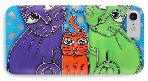 Neon Cat Trio #1 IPhone Case by Cynthia Snyder