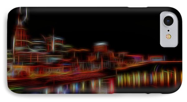 Neon Nashville Skyline At Night IPhone Case by Dan Sproul