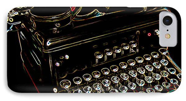 Neon Old Typewriter Phone Case by Ernie Echols