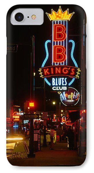 Neon Sign Lit Up At Night, B. B. Kings IPhone Case by Panoramic Images