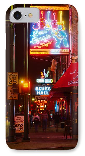 Neon Sign Lit Up At Night In A City IPhone Case by Panoramic Images