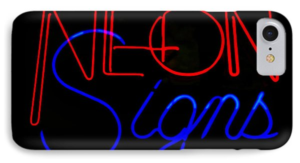 Neon Signs In Black IPhone Case by Kelly Awad