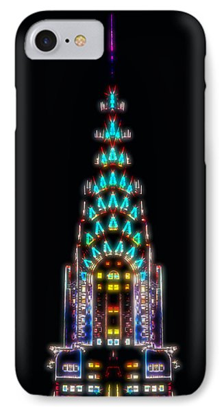 Chrysler Building iPhone 7 Case - Neon Spires by Az Jackson