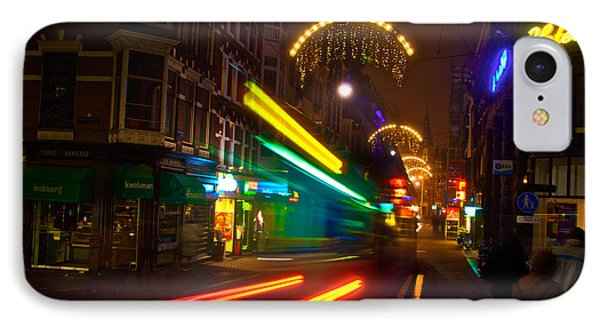 IPhone Case featuring the photograph Neon Tram Leidestraat by Jonah  Anderson