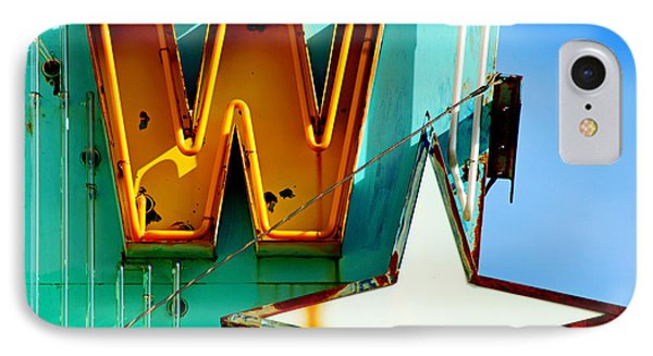 IPhone Case featuring the photograph Neon W - The West Theater by Daniel Woodrum