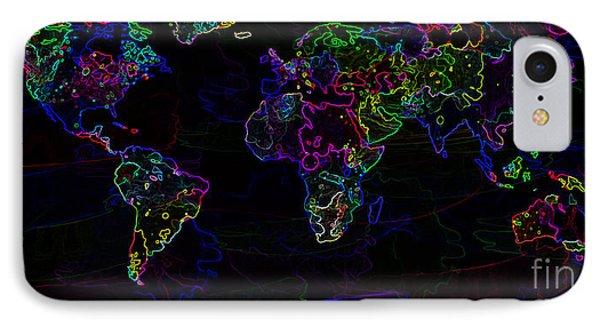Neon World Map IPhone Case by Zaira Dzhaubaeva