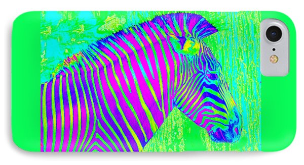 Neon Zebra 2 IPhone Case by Jane Schnetlage
