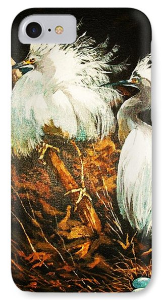 IPhone Case featuring the painting Nesting Egrets by Al Brown