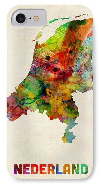 Netherlands Watercolor Map Phone Case by Michael Tompsett