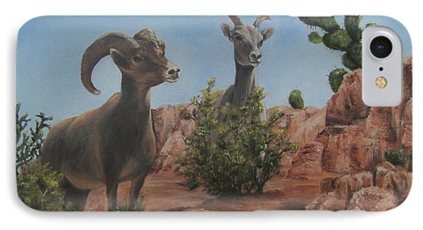IPhone Case featuring the painting Nevada Big Horns by Roseann Gilmore