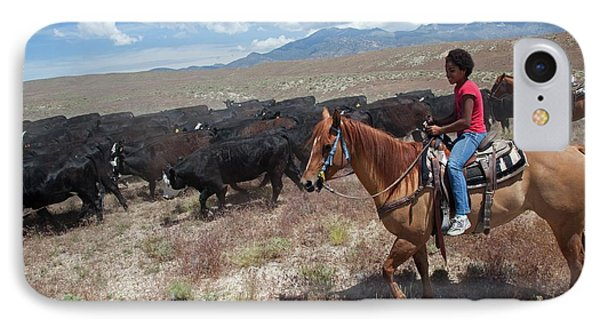 Nevada Cowgirls Herding Cattle IPhone Case by Jim West