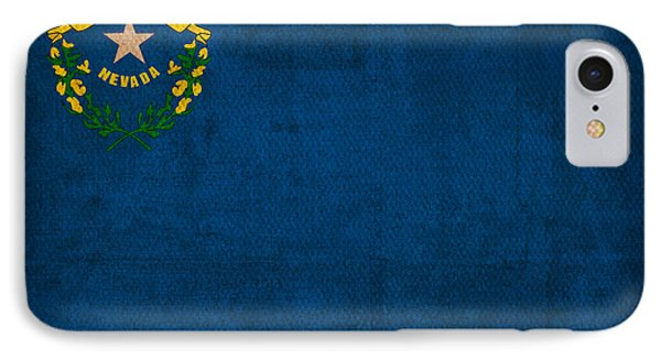 Nevada State Flag Art On Worn Canvas IPhone Case by Design Turnpike