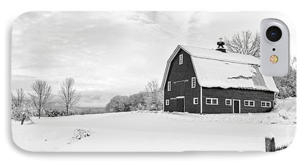 New England Farm Winter Black And White IPhone Case by Edward Fielding