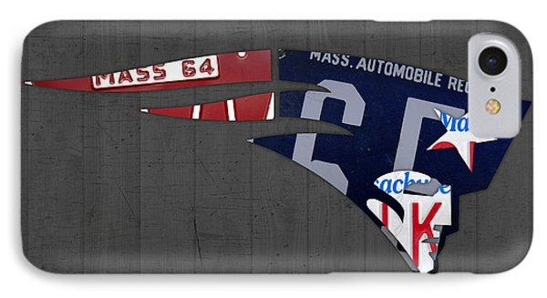 New England Patriots Football Team Retro Logo Massachusetts License Plate Art IPhone Case by Design Turnpike