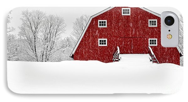 New England Red Barn In Winter Snow Storm IPhone Case by Edward Fielding