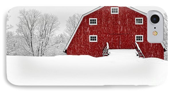 New England Red Barn In Winter Snow Storm IPhone Case
