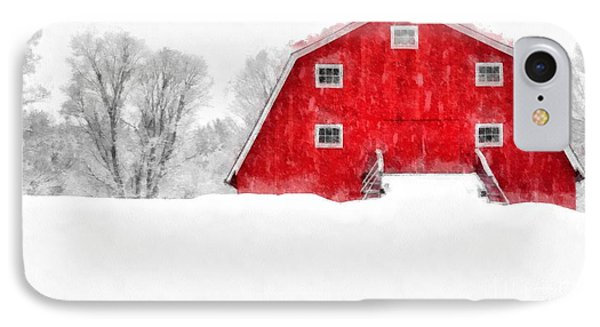 New England Red Barn In Winter Snow Storm Watercolor IPhone Case by Edward Fielding