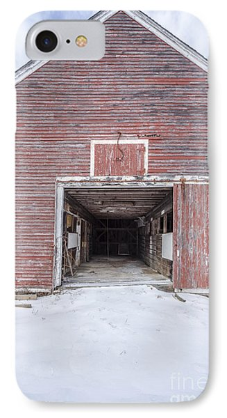 New England Red Barn Open Door IPhone Case by Edward Fielding
