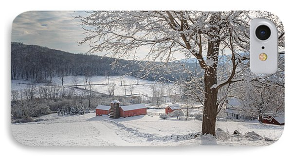 New England Winter Farms Morning IPhone Case by Bill Wakeley